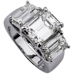 7.66 Carat Emerald-Cut Three-Stone 18 Karat White Gold Diamond Engagement Ring