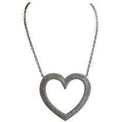 Tiffany & Co. 18 Karat White Gold Large Ladies Metro Heart Diamond Necklace
