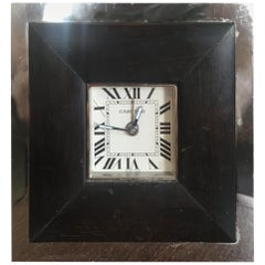 Cartier Stainless Steel Travel Desk Clock with Alarm and Wood Detail