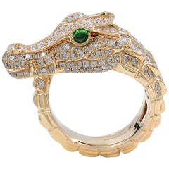 Rose Gold Diamond Alligator Ring 18 Karat 1.00 Carat