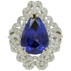 Blue Pear Shaped Tanzanite Aaa and Diamond in 18 Karat White Gold Ring