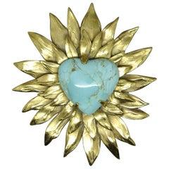 Goossens Paris Gold-Plated Heart Starburst Turquoise Brooch