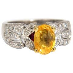 3.28 Carat Natural Yellow Sapphire Diamonds Ring Platinum