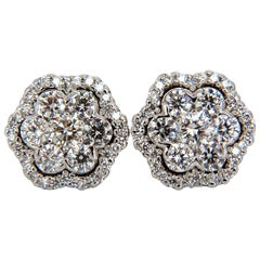 1.50 Carat Round Natural Diamond Cluster Halo Stud Earrings G.Vs 14 Karat