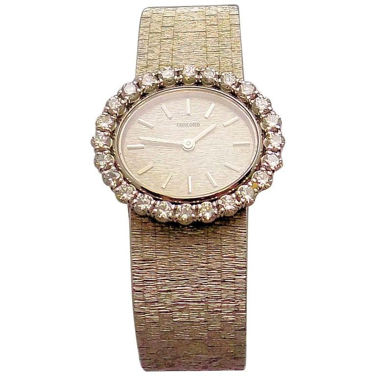 Concord Ladies White Gold Diamond Wristwatch For Sale