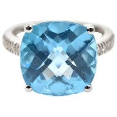 Blue Topaz and Diamond 14 Karat White Gold Ring