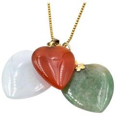 Jade Heart 18 Karat Yellow Gold Box Chain Necklace