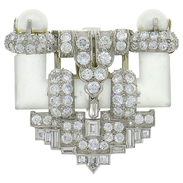 Diamond Platinum Clip Brooch Pin Rock Crystal Pearl, Art Deco, 1930s