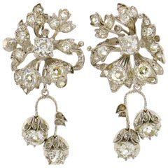 Diamond Palladium Dangle Earrings, Art Deco, 1930s