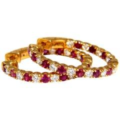 2.25 Carat Natural Ruby Diamonds Alternated Hoop Earrings 14 Karat