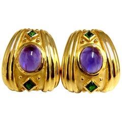 Athena 8.60 Carat Natural Amethyst Tourmaline Earrings 18 Karat Omega