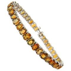 26.00 Carat Natural Fine Yellow Orange Sapphire Tennis Bracelet 14 Karat Vivid
