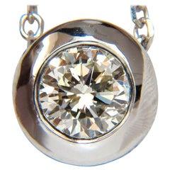 .75 Carat Bezel Round Diamond Necklace Solitaire A+