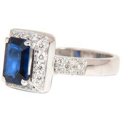 2.40CT Natural Emerald Cut Sapphire Diamonds Ring 18KT Intense Vivid Blue