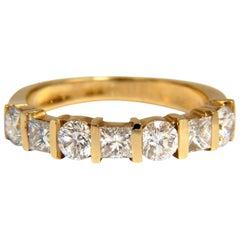 1.40 Carat Diamonds Princess Rounds Channel Band 14 Karat G.VS