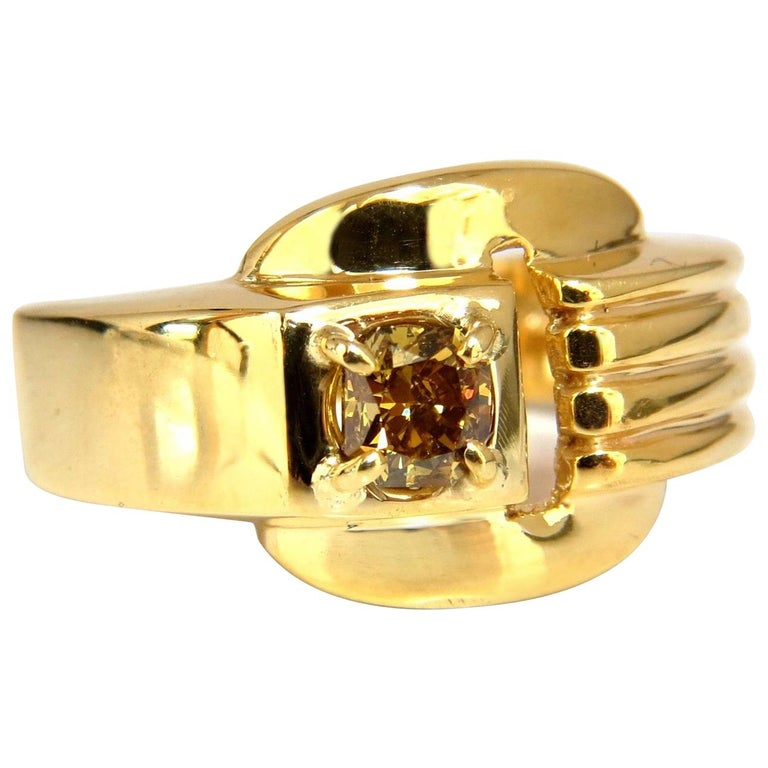 GIA Certified Natural Fancy Color Diamond Ring 14 Karat Buckle Deco For Sale