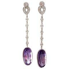 21.00ct natural purple amethyst diamond dangle earrings 14kt victorian deco
