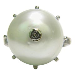 Natural South Sea Pearl 1.00 Carat Diamond Ring Excellent Crown