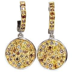 1.28 Carat Natural Fancy Color Diamonds Circle Cluster Earrings 14 Karat