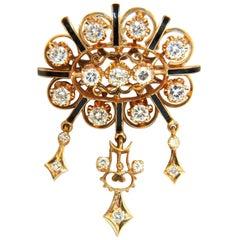 1.50 Carat Diamonds Tassel 1960s Pendant Brooch Pin 14 Karat