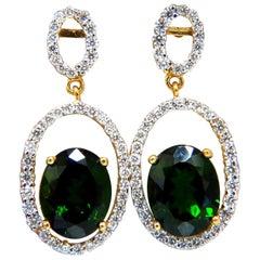 6.80 Carat Natural Green Diopside Diamonds Dangle Earrings 14 Karat
