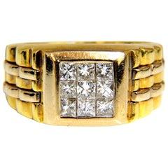"1.00 Carat Natural Diamonds ""Watch Band"" Men's Ring H/Vs 3D 18 Karat 19 Gram"