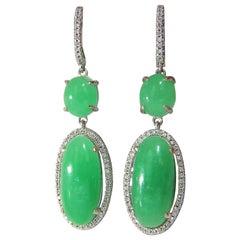 27.80 Carat Green Quartz Diamond Dangle Earrings 14 Karat