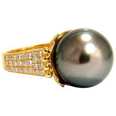 Natural Tahitian Peacock Pearl and .75 Carat Diamonds Ring 14 Karat