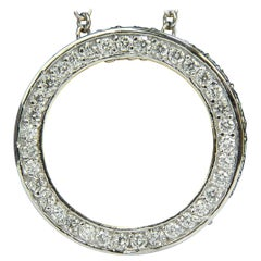 2.30 Carat Inside/Out Diamonds Circle Pendant G/VS and Chain 14 Karat