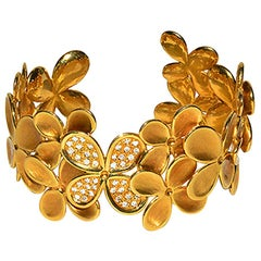 Angela Cummings Gold and Diamond Flower Cuff Bracelet