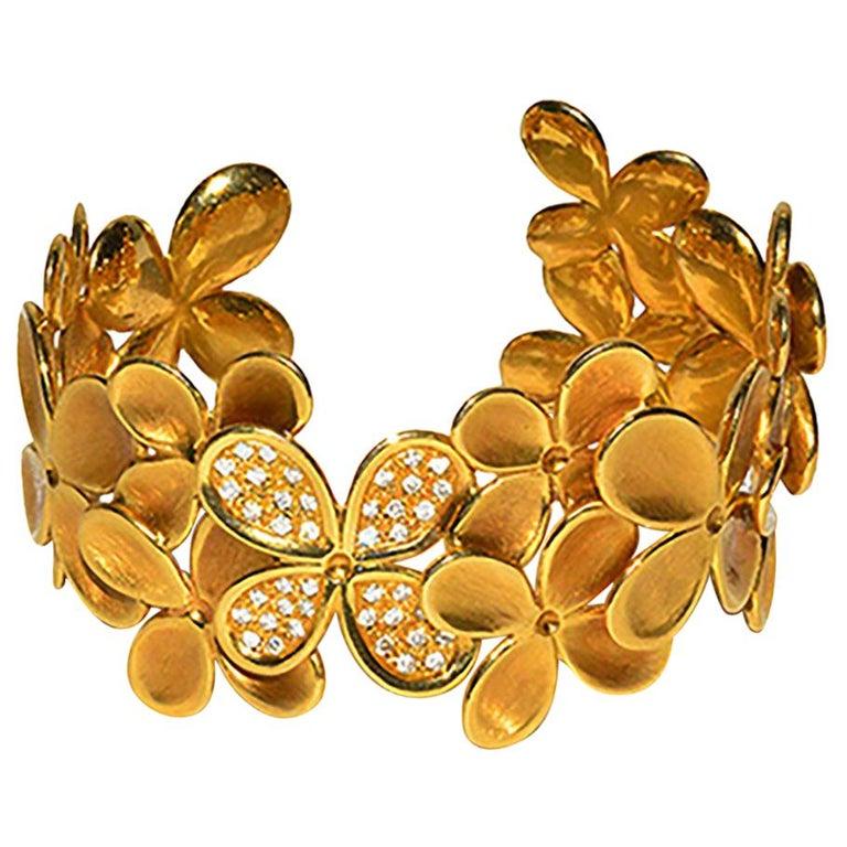 Angela Cummings Gold and Diamond Flower Cuff Bracelet