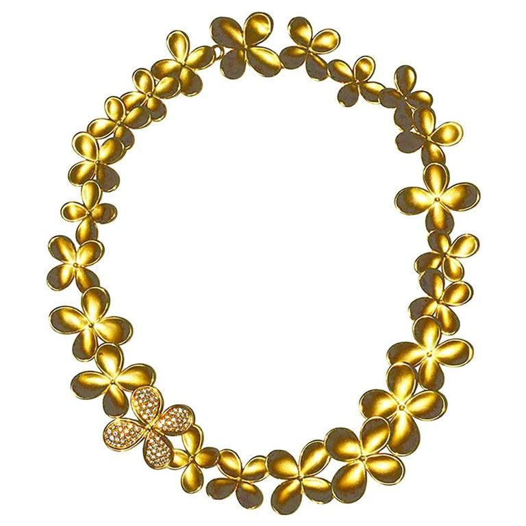 Rare Angela Cummings Gold and Diamond Flower Necklace
