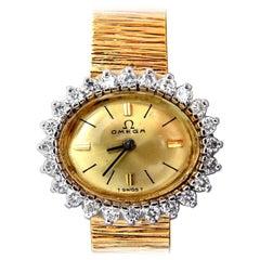 Omega Ladies Diamond Watch 14 Karat, 1.00 Carat Diamonds