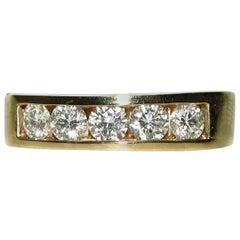 1.00 Carat Diamonds Band Ring 14 Karat Classic Channel