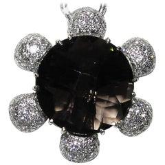 18 Karat 12.50 Carat Checkerboard Topaz Diamond Necklace