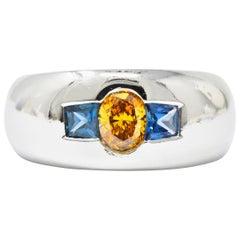 1.19 Carat Fancy Intense Yellow-Orange Diamond Sapphire & Platinum Men Ring GIA