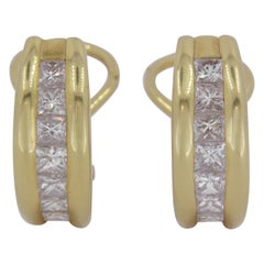 Diamond Earrings Set in 18 Karat Yellow Gold