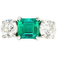 5.30 Carat Three-Stone Diamond Colombian Emerald Platinum Alternative Ring GIA