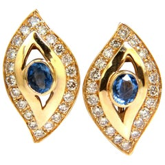4.75 Carat Natural Sapphire Diamond Earrings Omega Clip 14 Karat Cornflower