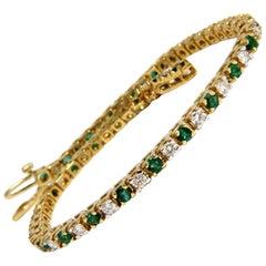 4.50 Carat Green Natural Emerald Diamonds Tennis Bracelet 14 Karat G/Vs