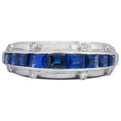 Tiffany & Co. 2.50 Carat 1940s Platinum Sapphire and Diamond Unisex Ring