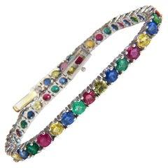 10ct natural ruby emerald sapphires diamond tennis bracelet 14kt gem line