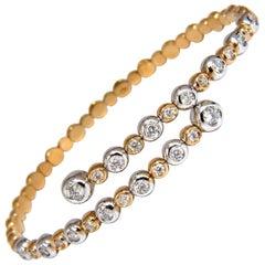 1.02ct natural diamonds Flexible bangle bracelet 18kt F/G Vs Petite Adjust