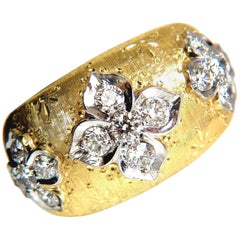 .90CT Round Diamonds Ring French Patina Graver Sweep Etch Clover Stars 18K
