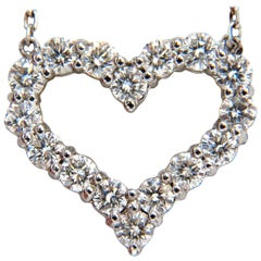 Heart Natural Diamonds Necklace 14 Karat G/VS Common Prong
