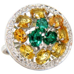 5.62 Carat Natural Fancy Yellow Sapphires Vivid Green Emeralds Cluster Ring