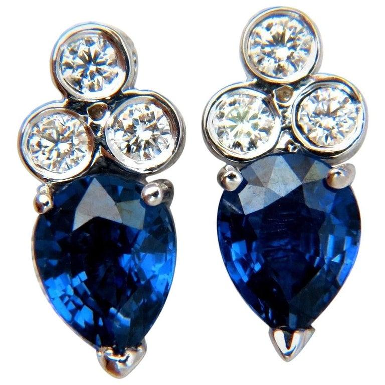 3.45 Carat Natural Sapphire Diamonds Cluster Stud Earrings 14 Karat Vivid Blue