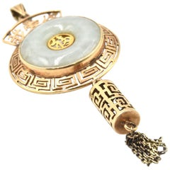 Asian Jade 14 Karat Yellow Gold Pendant
