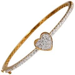 Diamonds Heart Bangle Bracelet 1.30 Carat g/vs 14 Karat