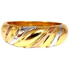 14 Karat Tri-Color Bangle Bracelet Wide